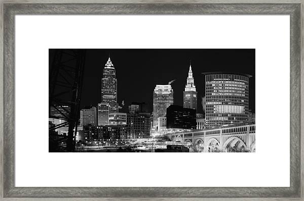 Ultra Rez Cleveland Black And White Framed Print