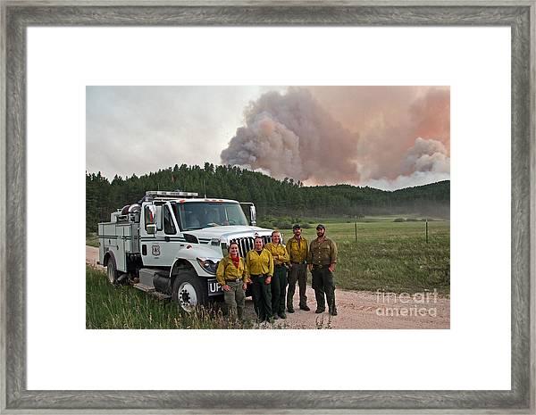 Umpqua Engine 25 On Myrtle Fire Framed Print