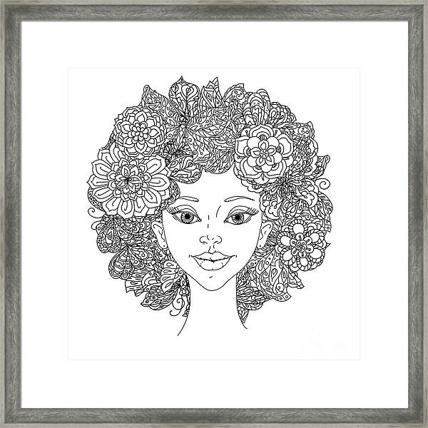 Uncolored Girlish Face For Adult Framed Print by Mashabr