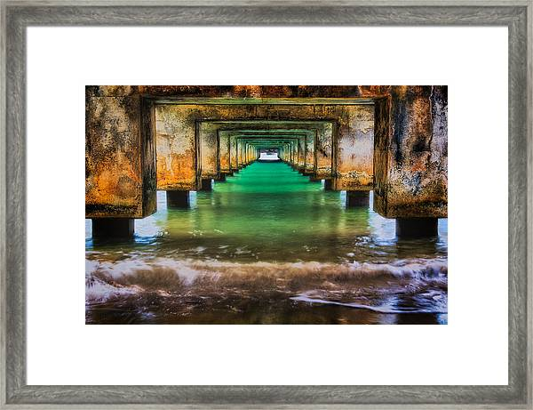 Under Hanalei Pier Framed Print