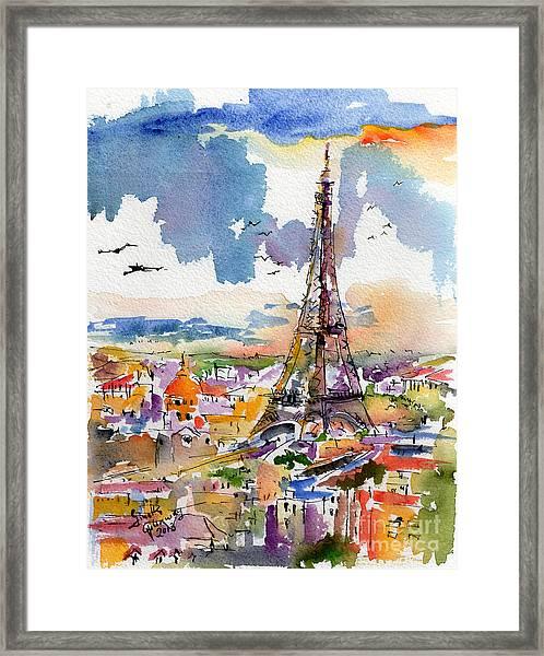 Under Paris Skies Eiffel Tower Framed Print