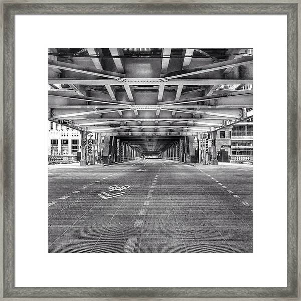Chicago Wells Street Bridge Photo Framed Print
