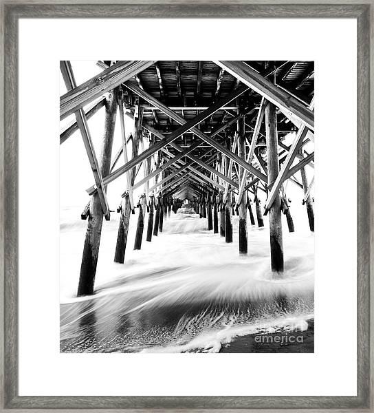 Under The Pier Folly Beach Framed Print