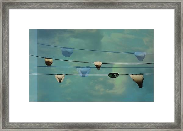 Underwear On A Washing Line  Framed Print