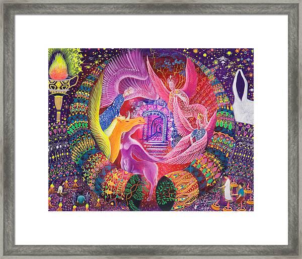 Framed Print featuring the painting Unicornio Dorado by Pablo Amaringo