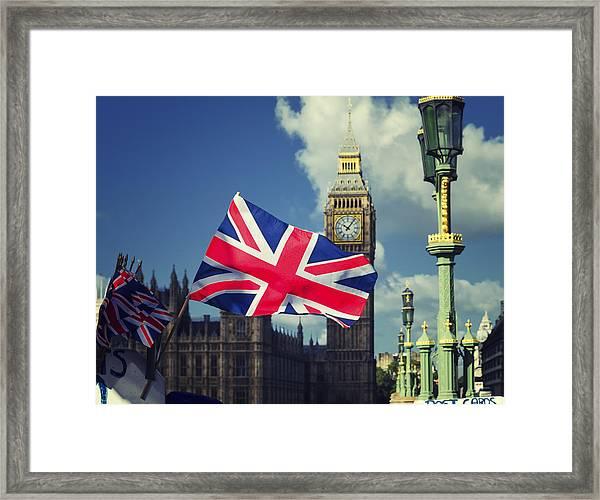 Union Jack In London Framed Print
