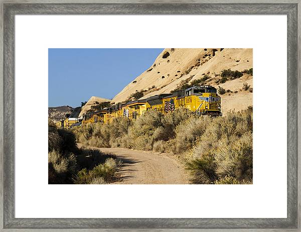 Union Pacific Rolling Through The Mormon Rocks Framed Print