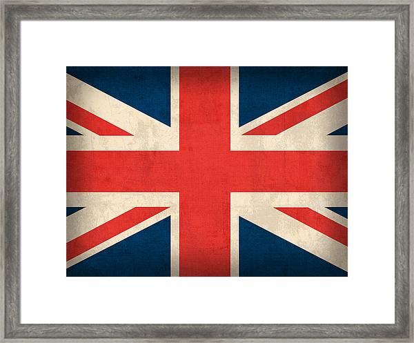 United Kingdom Union Jack England Britain Flag Vintage Distressed Finish Framed Print