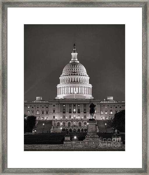 United States Capitol At Night Framed Print
