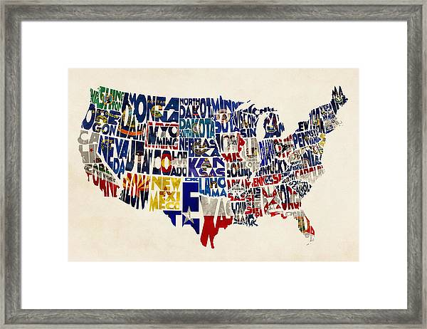 United States Flags Map Framed Print