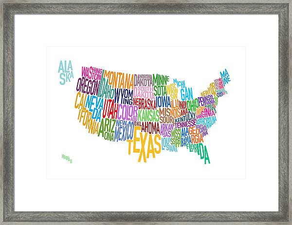 United States Text Map Framed Print