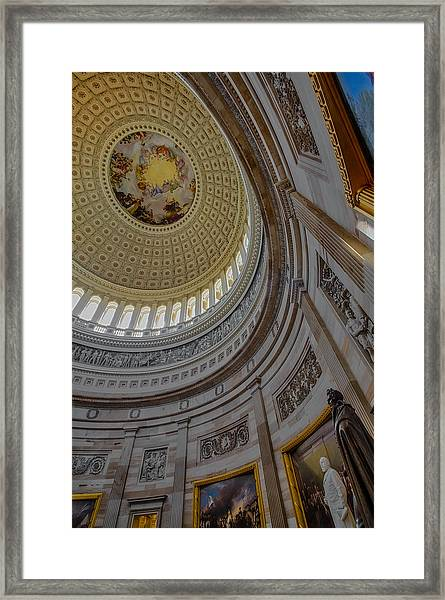 Framed Print featuring the photograph Unites States Capitol Rotunda by Susan Candelario
