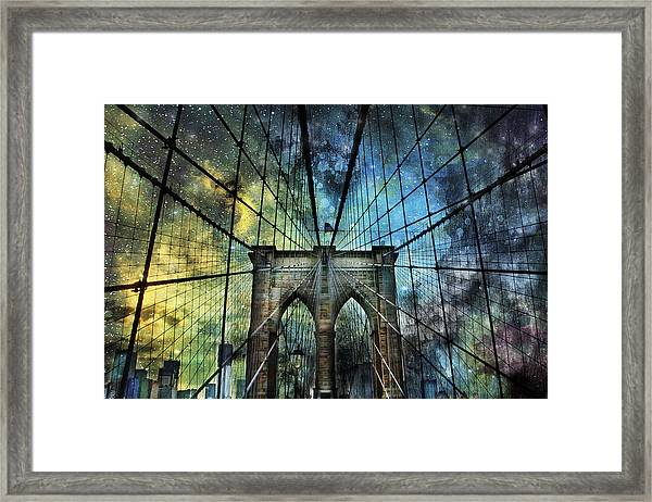 Universe And The Brooklyn Bridge Framed Print