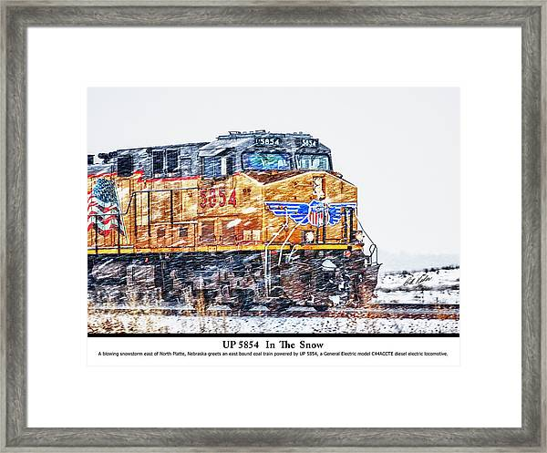 Up 5854 In The Snow With Description Framed Print by Bill Kesler