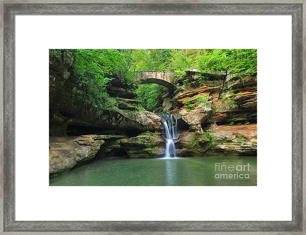 D10a-113 Upper Falls At Old Mans Cave Hocking Hills Photo Framed Print