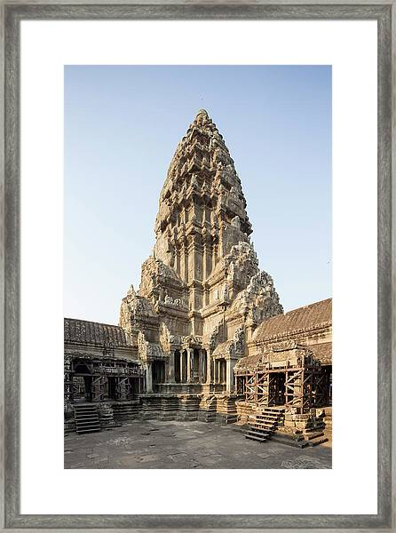 Upper Level Towers Of Angkor Wat Framed Print