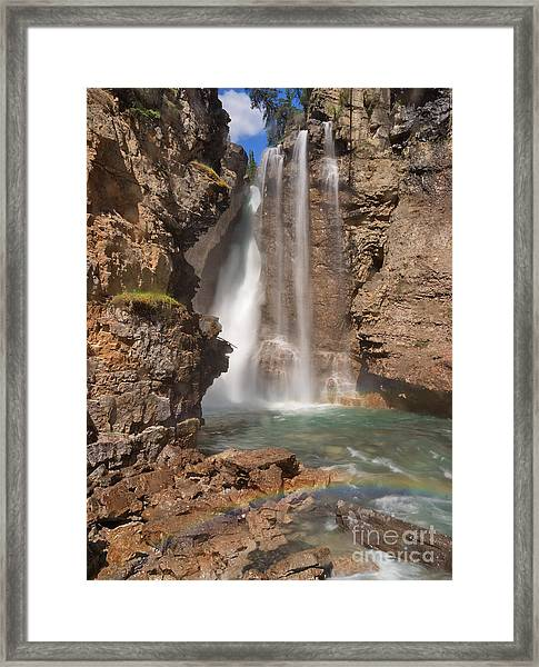Upper Waterfall At Johnston Canyon Framed Print