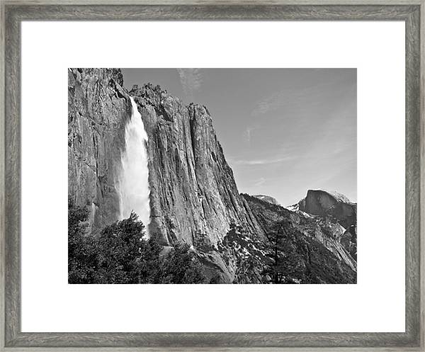 Upper Yosemite Fall With Half Dome Framed Print