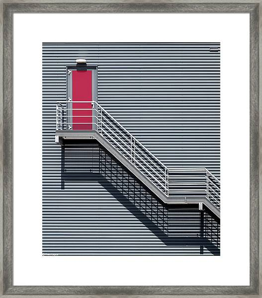 Upstairs To The Red Door Framed Print