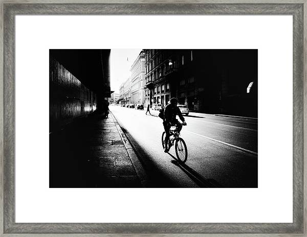 Urban Cyclist Framed Print