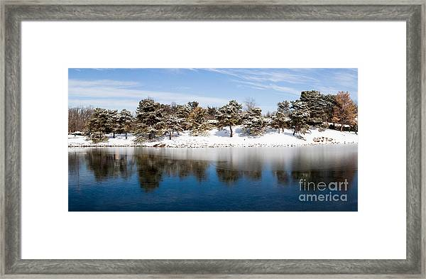 Urban Pond In Snow Framed Print