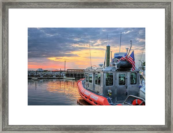 Us Coast Guard Defender Class Boat Framed Print