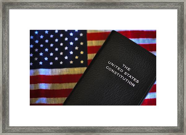 United States Constitution And Flag Framed Print