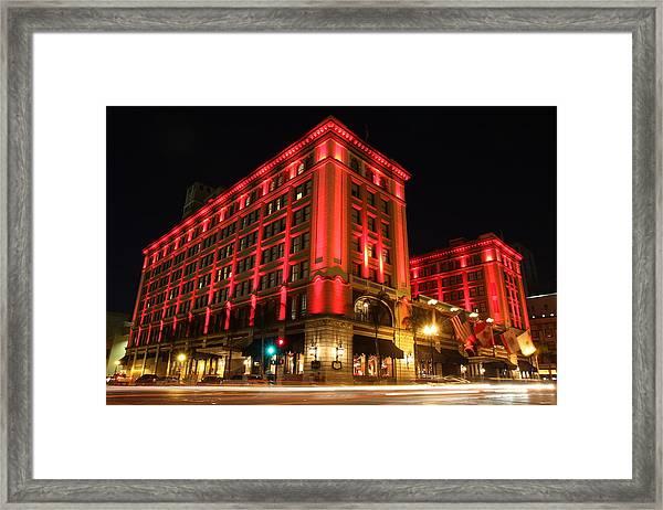 Us Grant Hotel In Red Framed Print