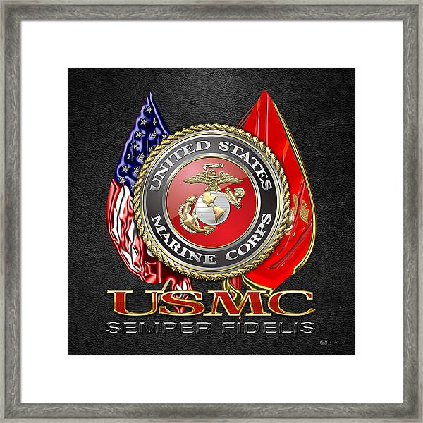 U. S. Marine Corps U S M C Emblem On Black Framed Print