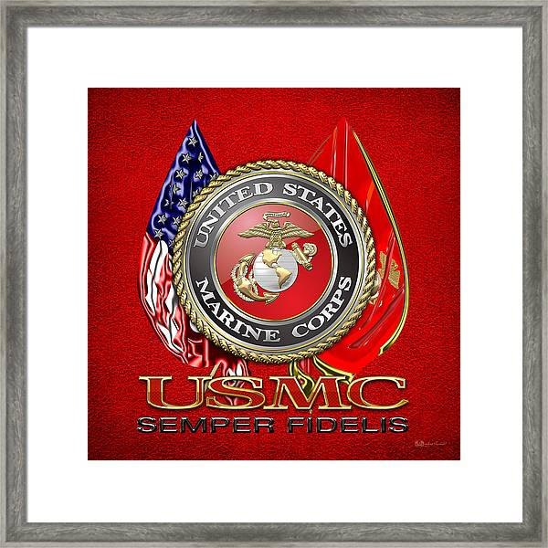 U. S. Marine Corps U S M C Emblem On Red Framed Print