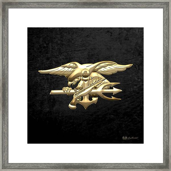 U. S. Navy S E A Ls Emblem On Black Velvet Framed Print