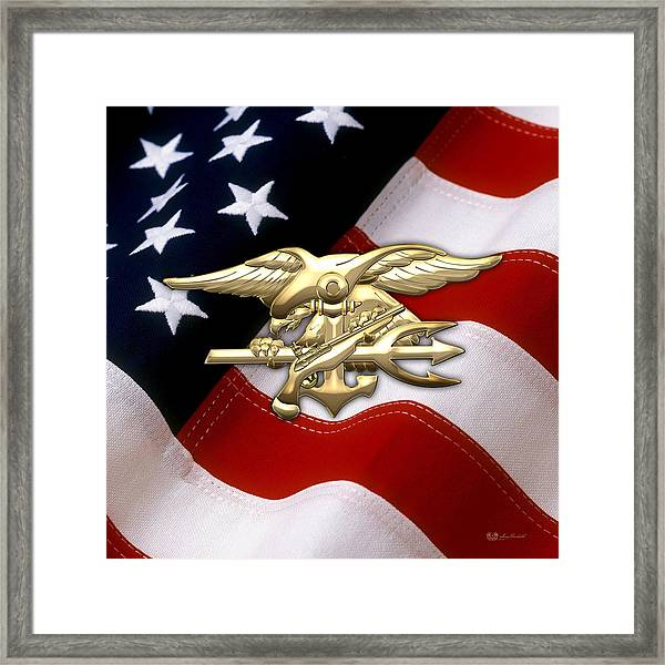 U. S. Navy S E A Ls Emblem Over American Flag Framed Print