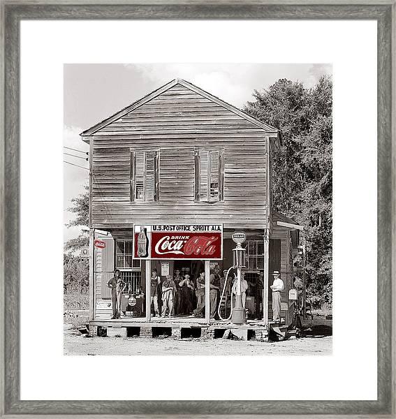 U.s. Post Office General Store Coca-cola Signs Sprott  Alabama Walker Evans Photo C.1935-2014. Framed Print