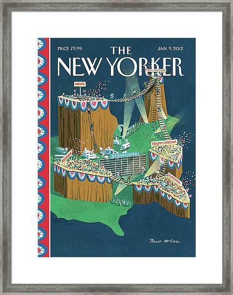 Us States Are Displayed As Grandstands Framed Print by Bruce McCall
