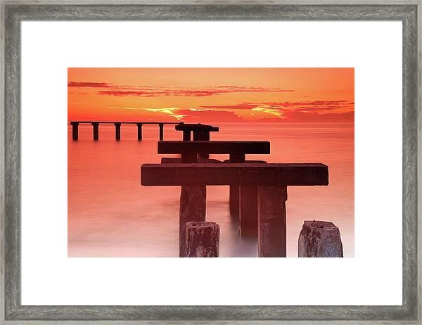 Usa, Florida, Boca Grande, Ruined Pier Framed Print