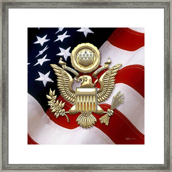 U. S. A. Great Seal In Gold Over American Flag  Framed Print
