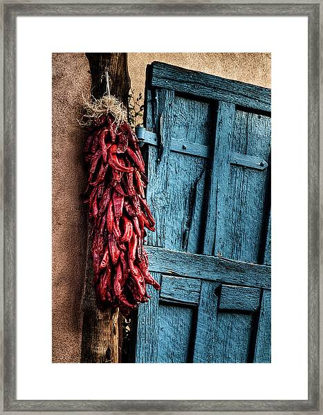 Usa, New Mexico, Taos, Gate And Ristra Framed Print