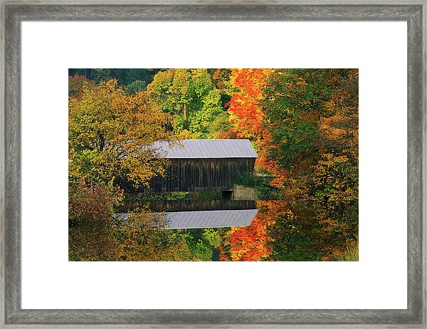 Usa, Vermont Covered Bridge And Autumn Framed Print