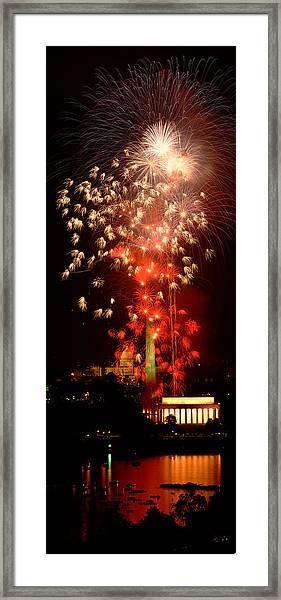 Usa, Washington Dc, Fireworks Framed Print