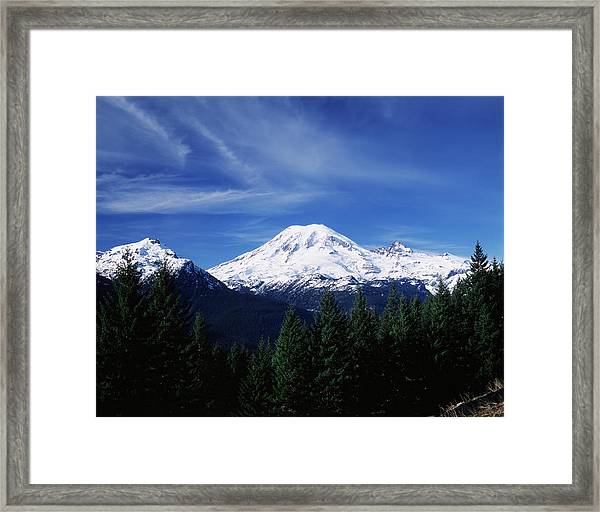 Usa, Washington State, View Of Mount Framed Print by Paul Souders