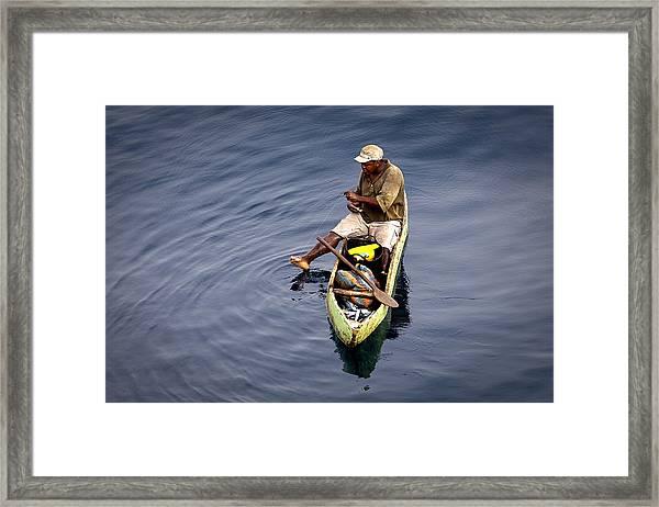 Using A Toe As A Fishing Pole. Framed Print
