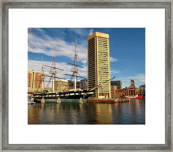 U.s.s. Constellation In Baltimore's Inner Harbor Framed Print
