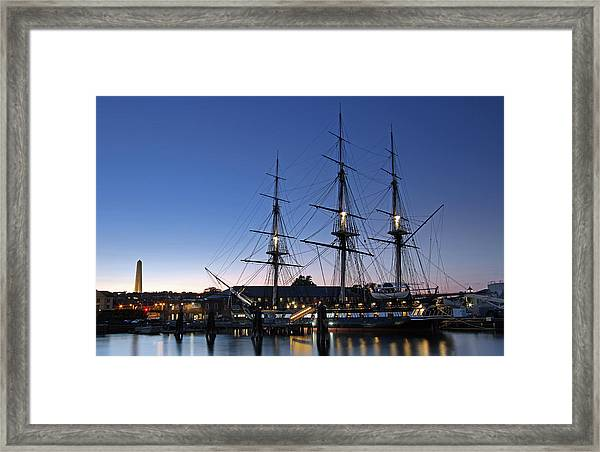 Uss Constitution And Bunker Hill Monument Framed Print