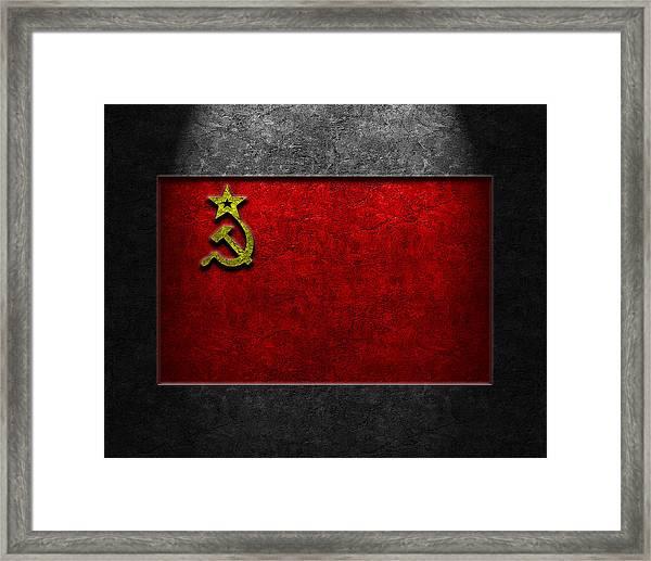 Ussr Flag Stone Texture Framed Print