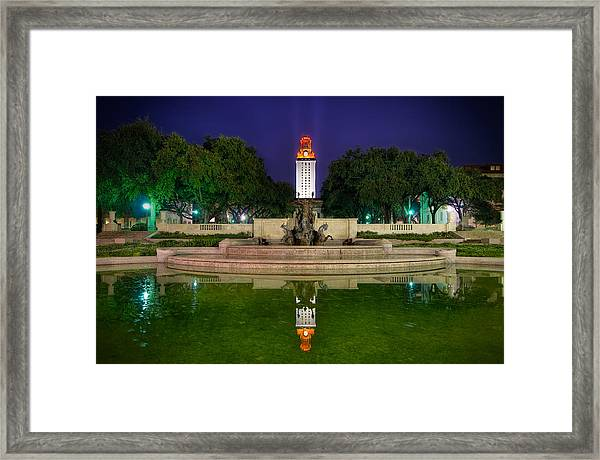 Ut Tower Regular Season Win Reflection Framed Print by Preston Broadfoot