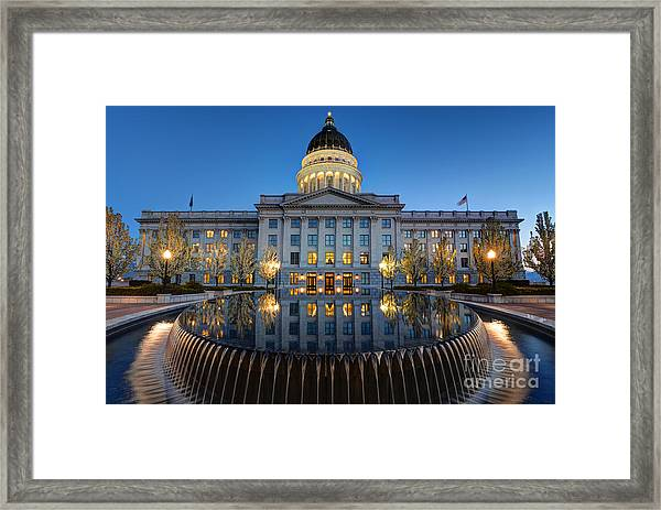 Utah State Capitol In Reflecting Fountain At Dusk Framed Print