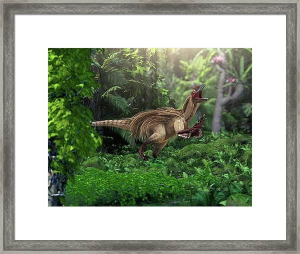 Utahraptor Dinosaur Framed Print by Roger Harris