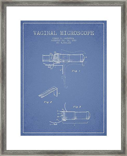 Vaginal Microscope Patent From 1980 - Light Blue Framed Print by Aged Pixel