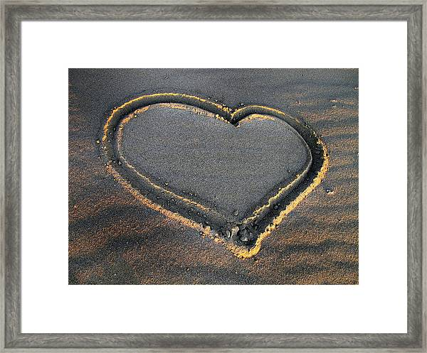 Valentine's Day - Sand Heart Framed Print