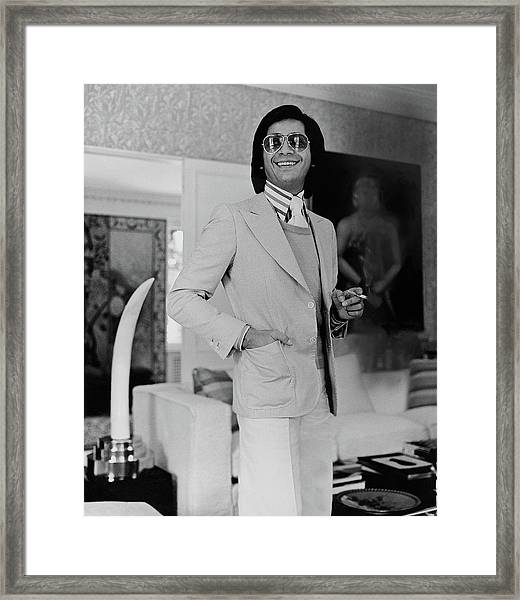 Valentino In His Living Room Framed Print